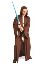 Costume + capuche adulte robe Jedi™ marron - Taille Unique