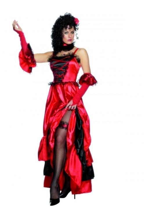 Costume femme de danseuse de saloon un d guisement de french cancan - Deguisement western femme ...